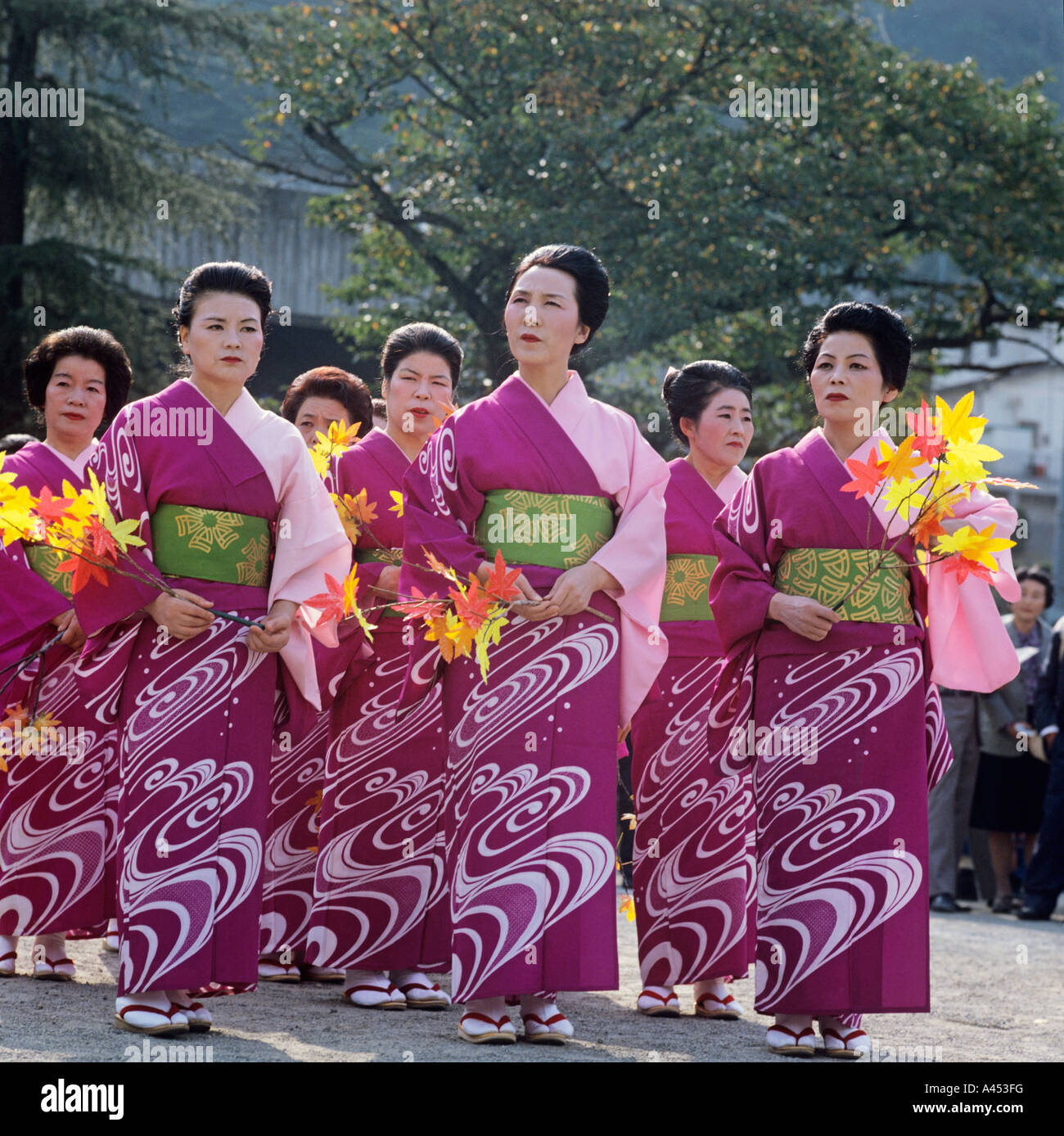 Japan Hakone The March of The Feudal Lords. A team of dancing girls march along the route. - Stock Image
