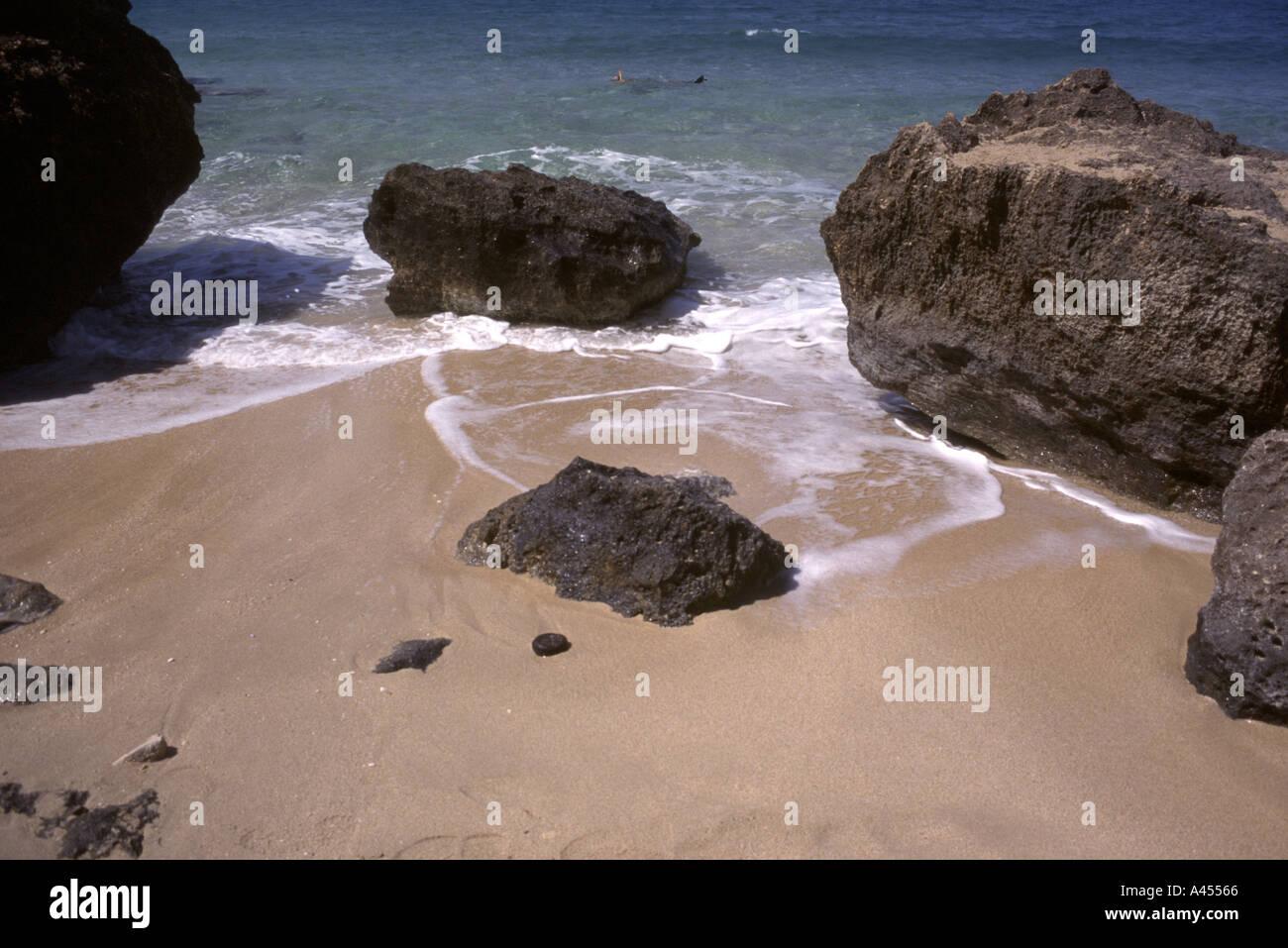 Beach Scene Aegean Sea Lassi Greek Ionian Island of Kefalonia Cephalonia Cephellonia Greece EU Euopean Union Europe - Stock Image