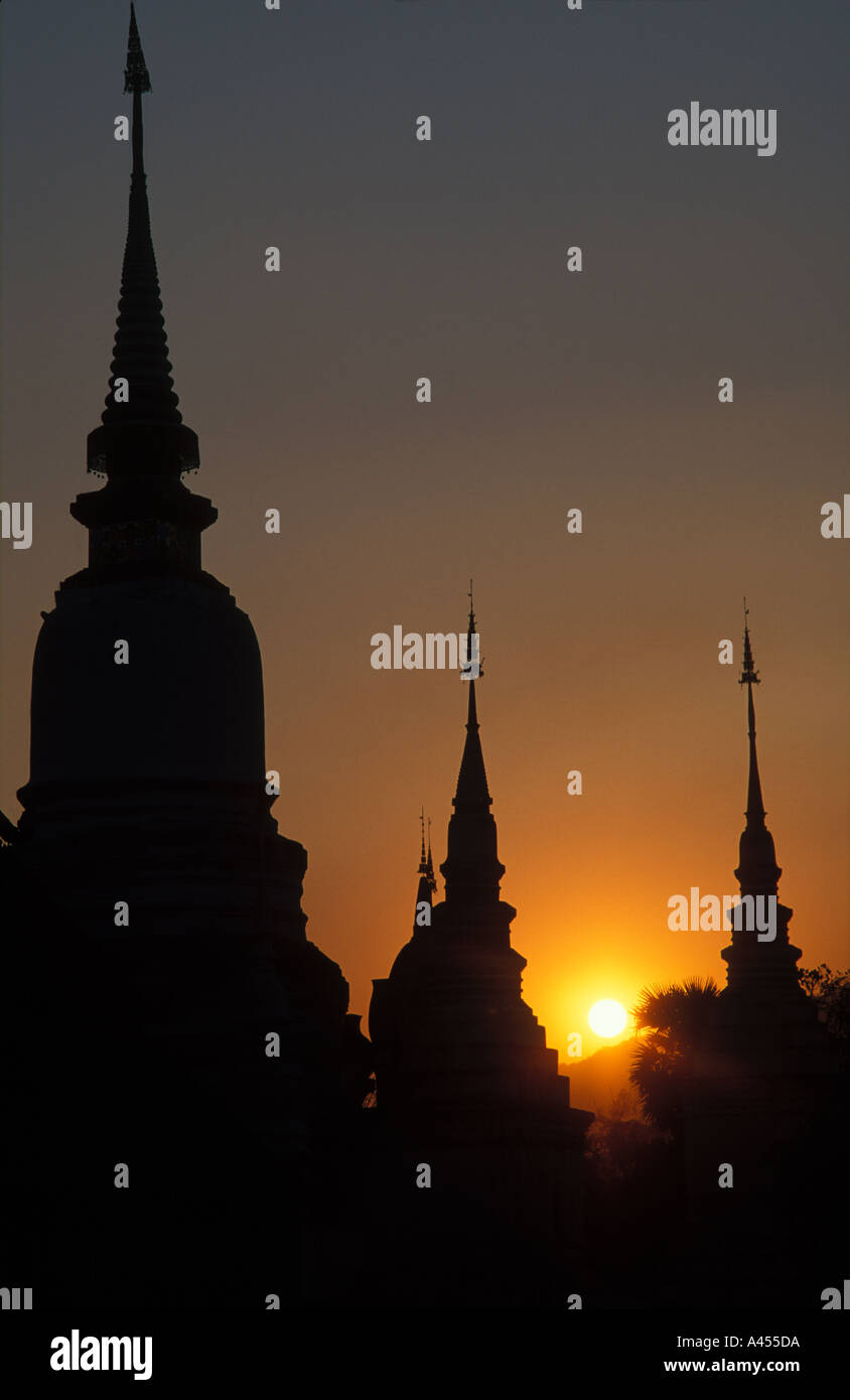 Sunset over Temples Chiang Mai Thailand - Stock Image