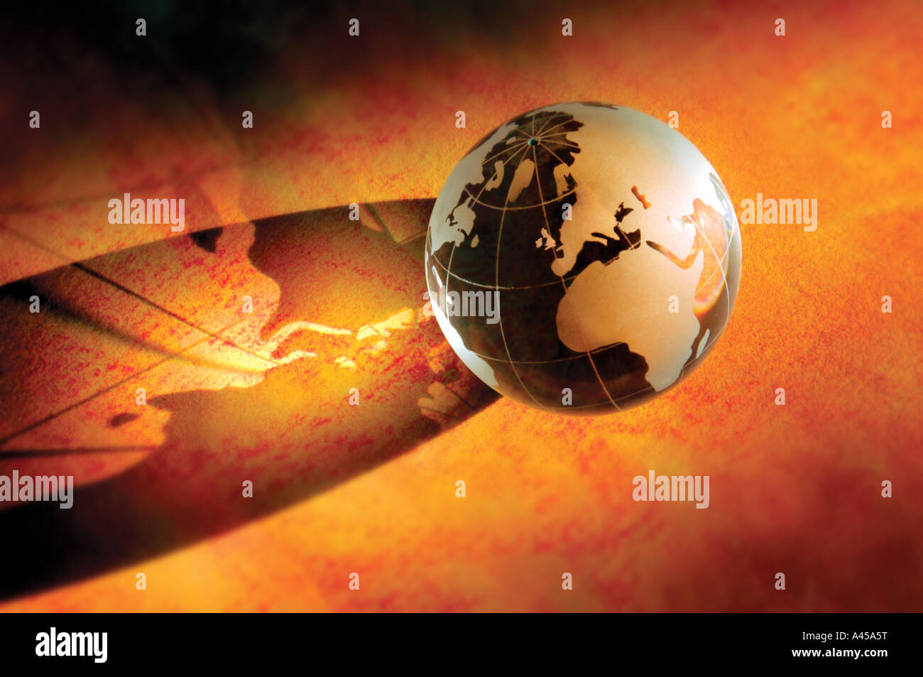 glass Earth globe featuring Europe and Africa - Stock Image