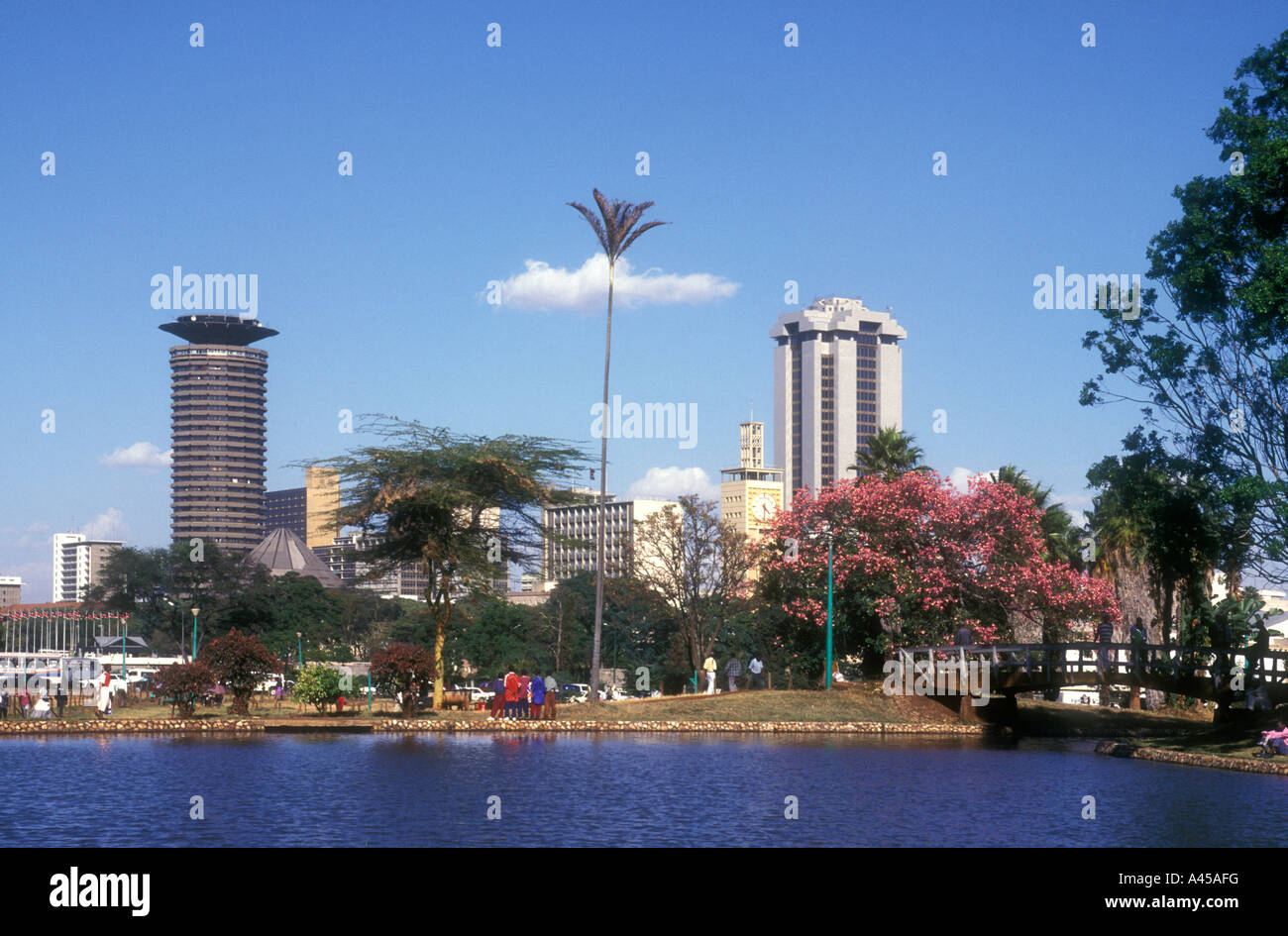 Nairobi city skyline seen from the boating lake in Uhuru Park Kenya East Africa Stock Photo
