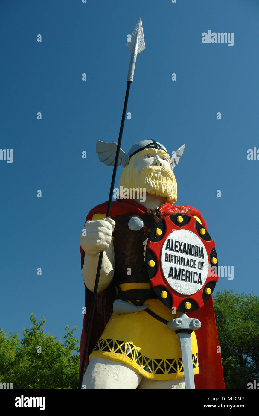 AJD57415, Alexandria, MN, Minnesota, Alex the Viking Statue, Alexandria Birthplace of America - Stock Image