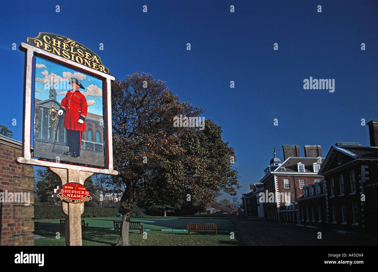 The Chelsea Pensioner A pub sign in the Royal Hospital grounds Chelsea London England United Kingdom - Stock Image