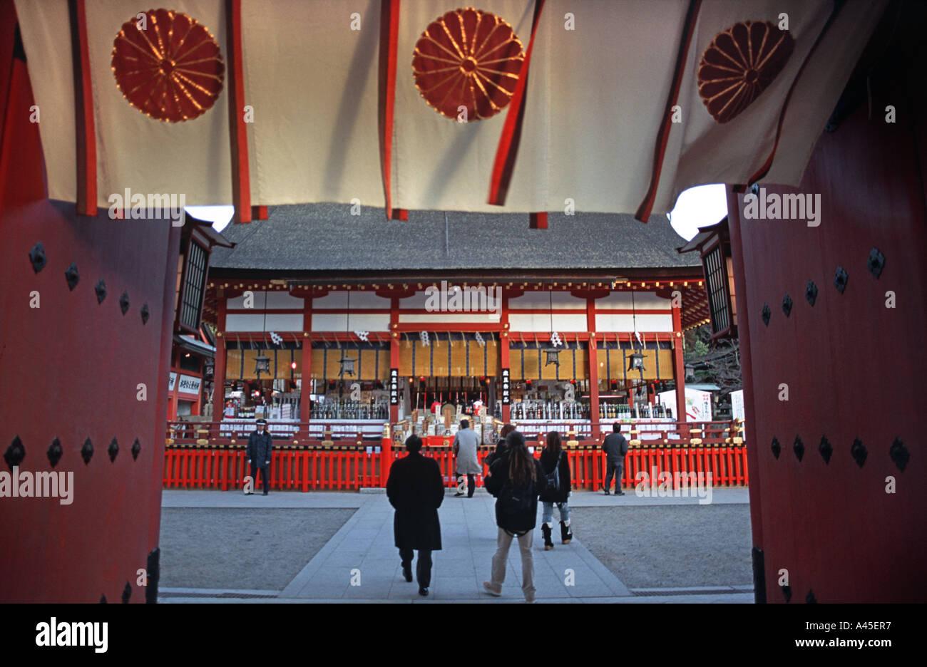 Fushimi Inari Taisha in Kyoto Japan Popular for blessings in business - Stock Image