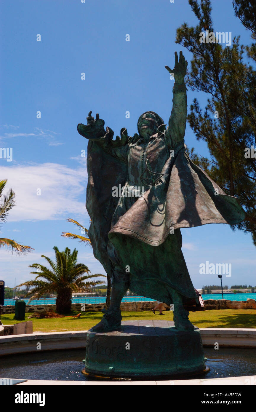 Statue of Sir George Somers St George Bermuda who colonized Bermuda for Britain - Stock Image