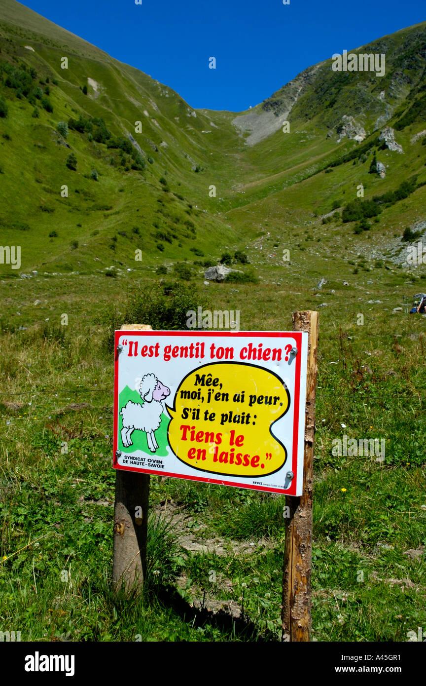 Sign below pass Col de Tricot Haute-Savoie France - Stock Image