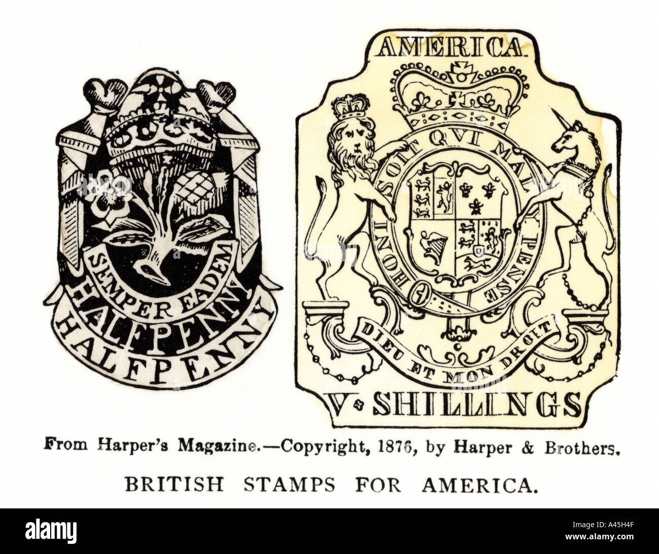 British stamps for America issued under the Stamp Act half penny and 5 shillings. Woodcut with a watercolor wash - Stock Image