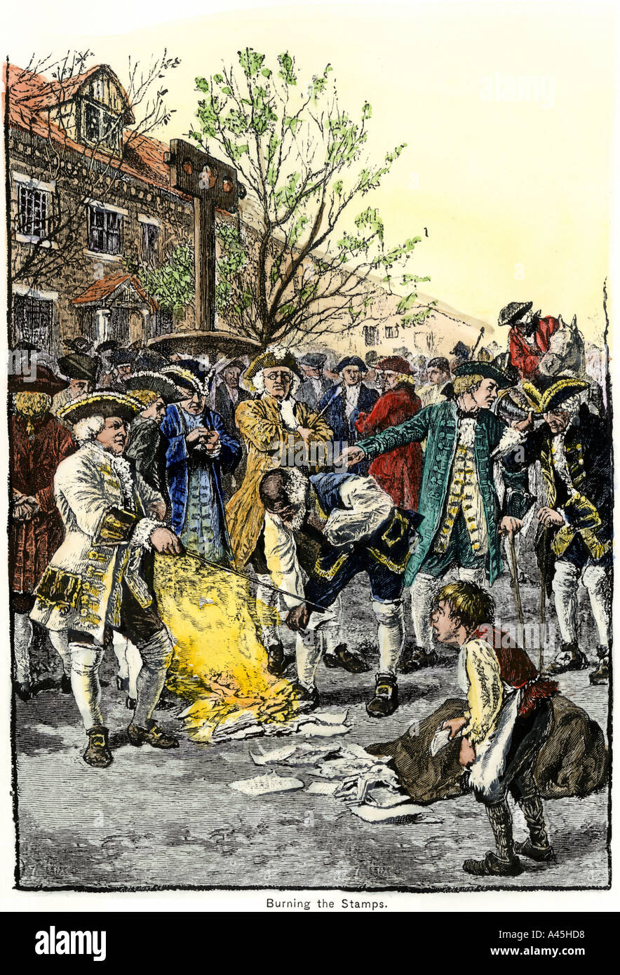Stamp Act protestors burning stamps in New York City before the American Revolution. Hand-colored woodcut - Stock Image