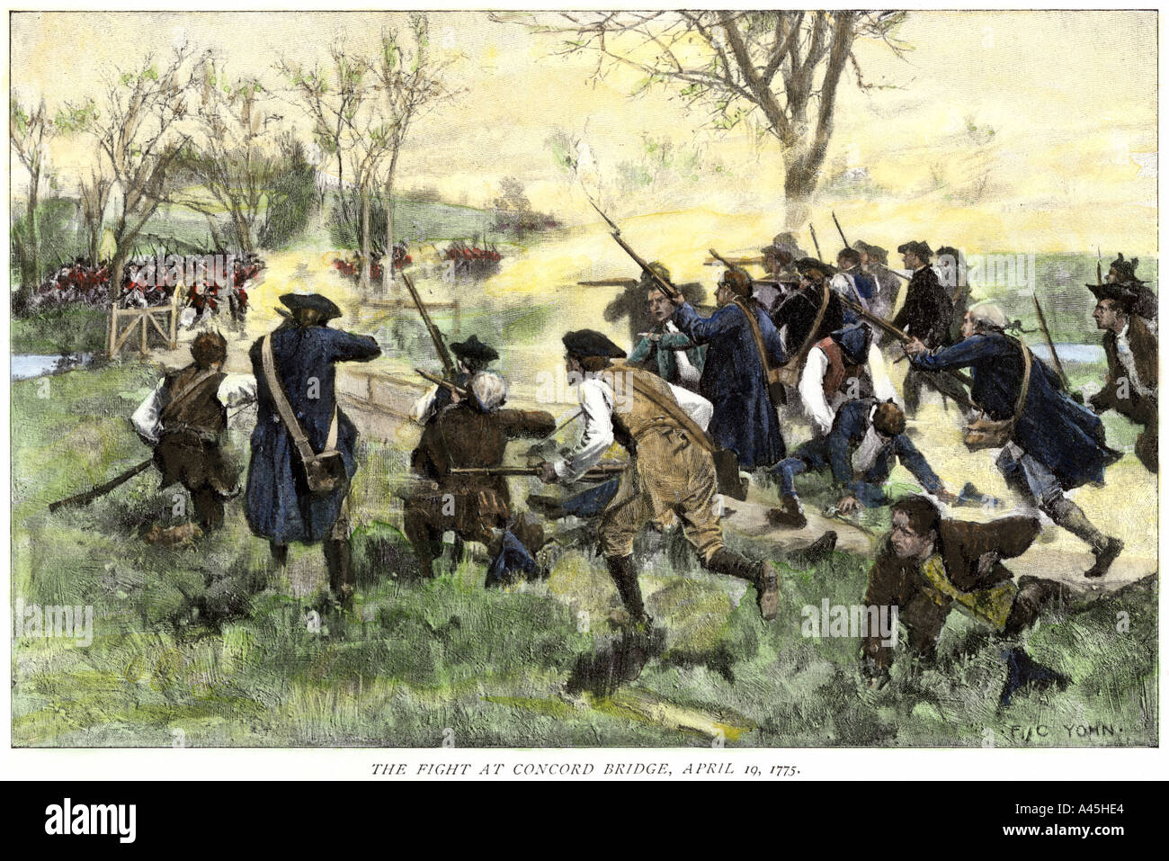 Minutemen fight to hold off the British army at Concord Bridge April 10 1775. Hand-colored woodcut - Stock Image