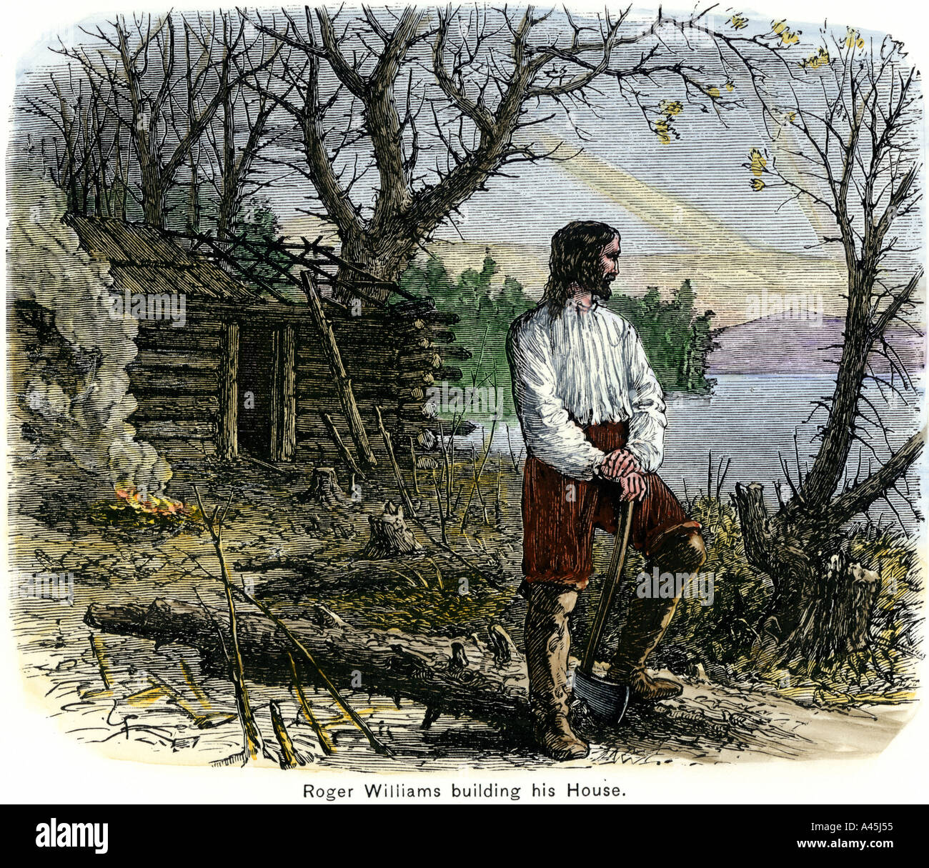 Roger Williams building his house in Rhode Island 1636. Hand-colored woodcut - Stock Image