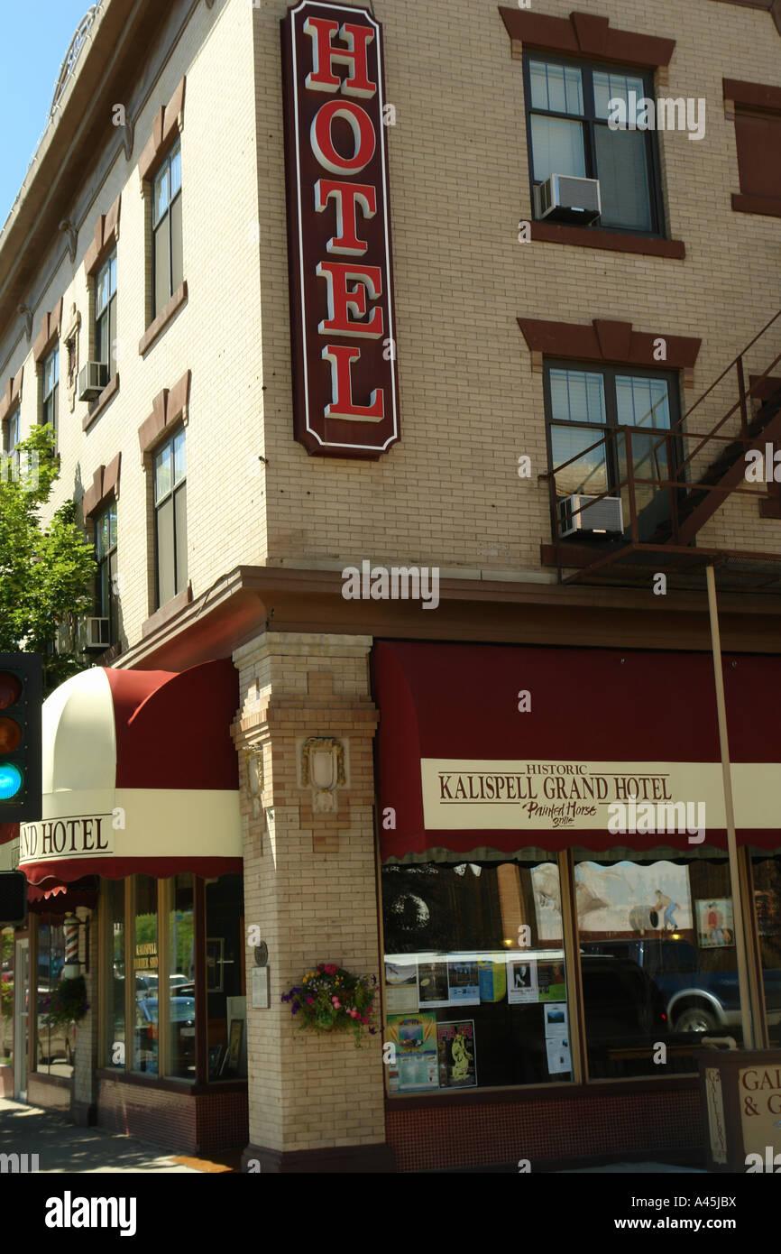 AJD56541, Kalispell, MT, Montana, Historic Downtown, Grand Hotel - Stock Image