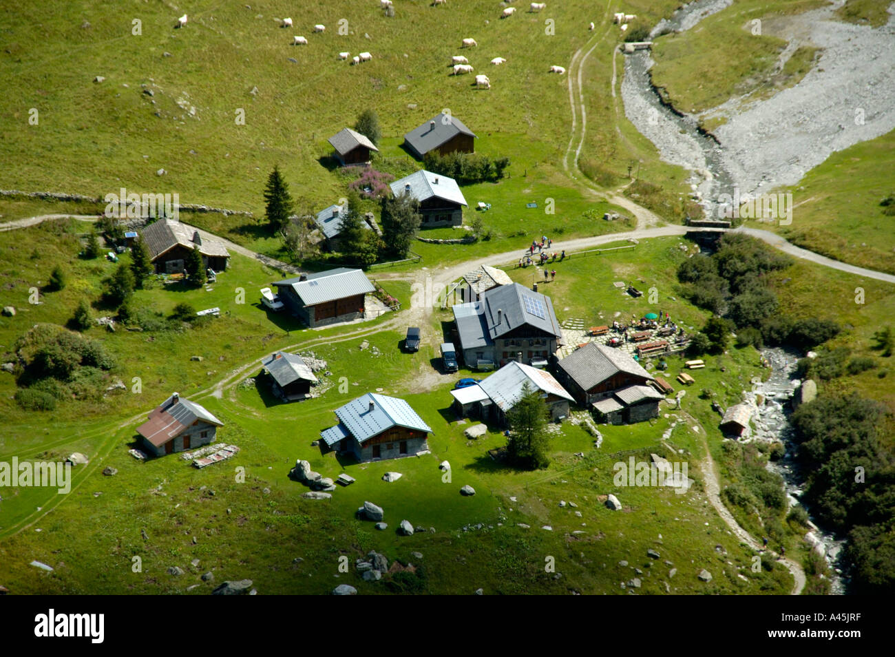 View onto the huts of the alp Chalets de Miage Haute-Savoie France - Stock Image