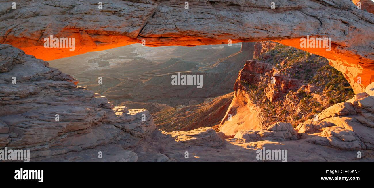 Mesa Arch at sunrise Island in the Sky Region Canyonland National Park near Moab Utah - Stock Image