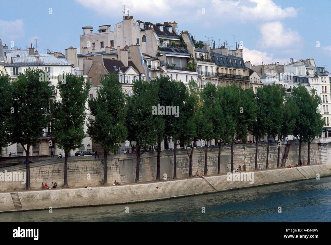Paris France Ile St Louis River Seine - Stock Image