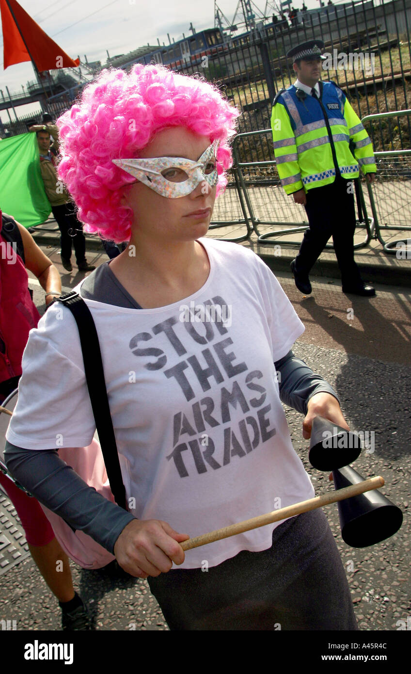 a peace protester marches against the largest arms fair in europe the defence systems and equipment international Stock Photo