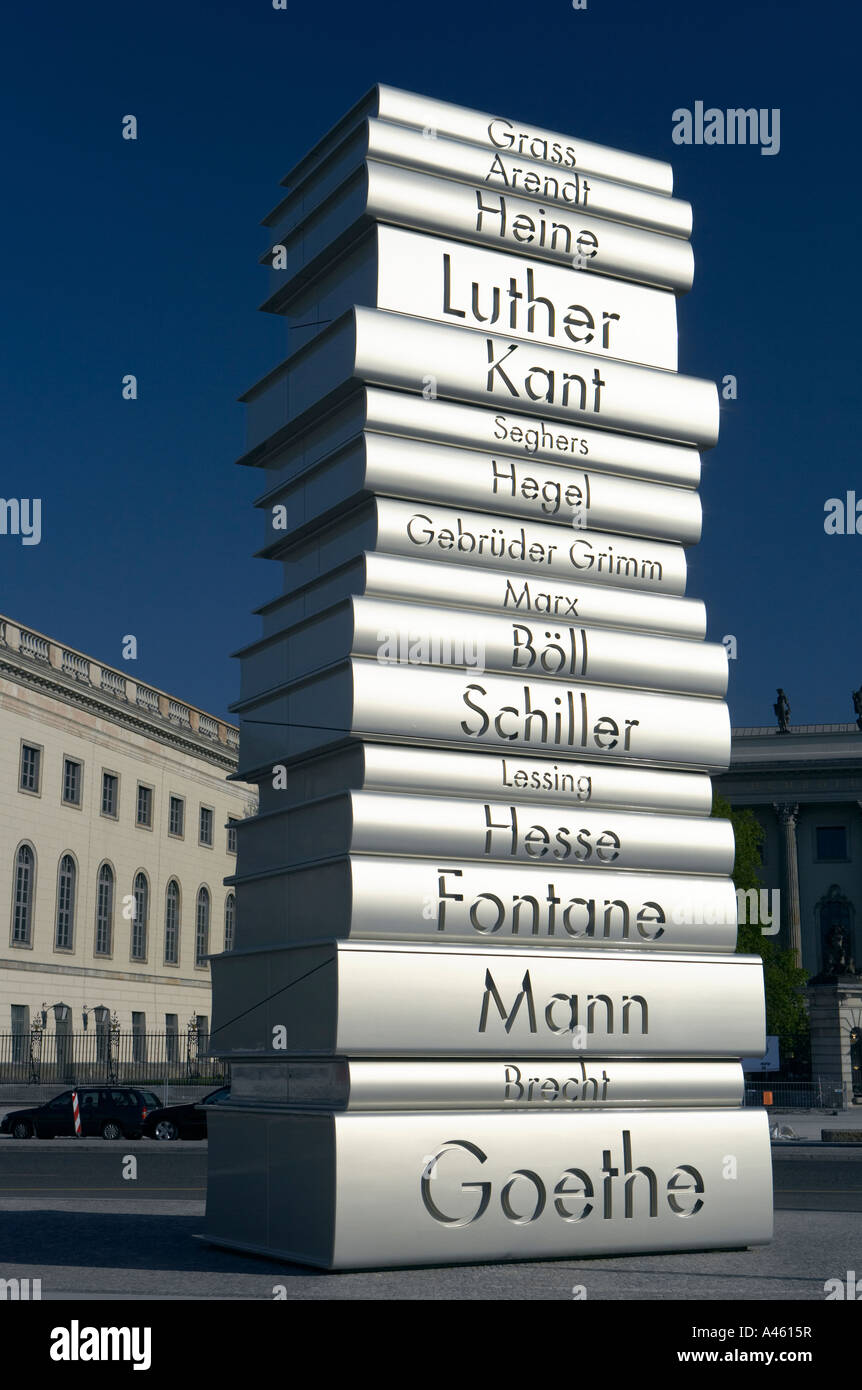 Sculpture of a pile of oversize books, part of the project Land of Ideas, Berlin, Germany - Stock Image