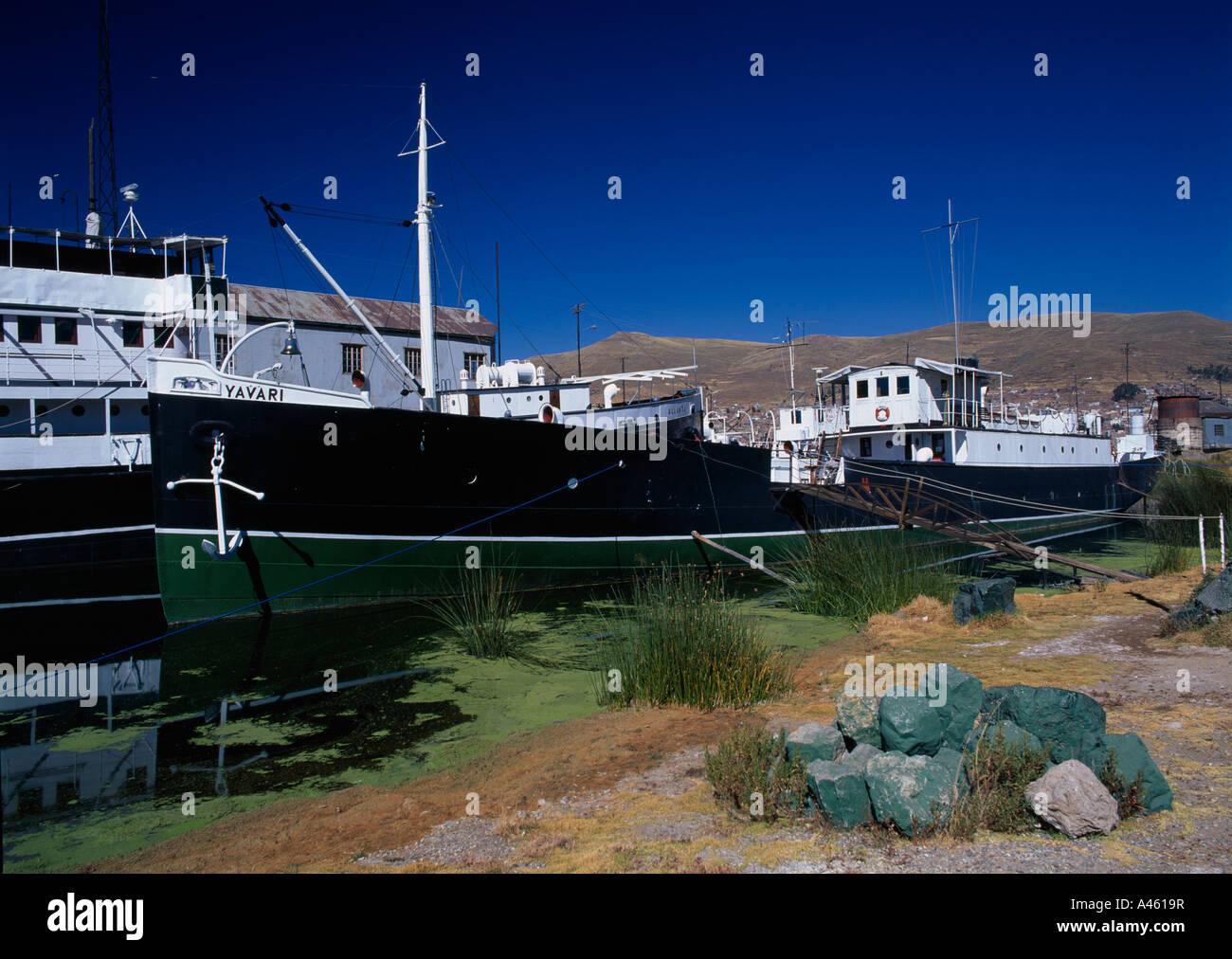 PERU South America Puno Administrative Division Puno Lake Titicaca Yavari the oldest ship on Lake Titicaca moored - Stock Image