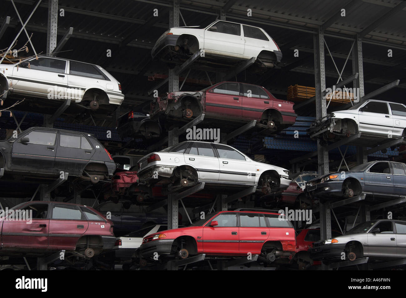 Cars at a scrap yard, Berlin, Germany Stock Photo: 10949984 - Alamy