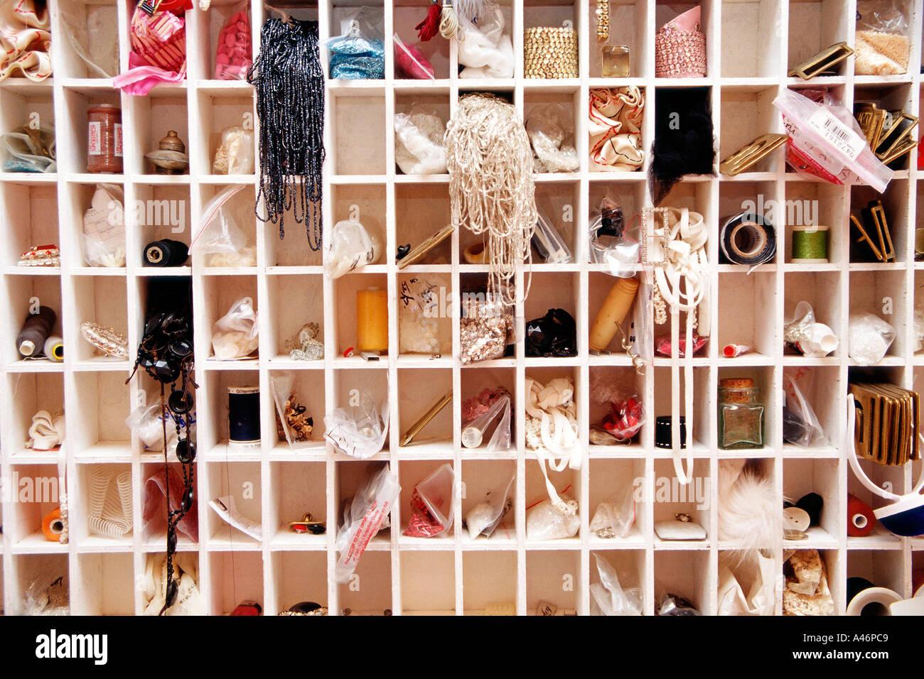 Haberdashery items on shelf - Stock Image