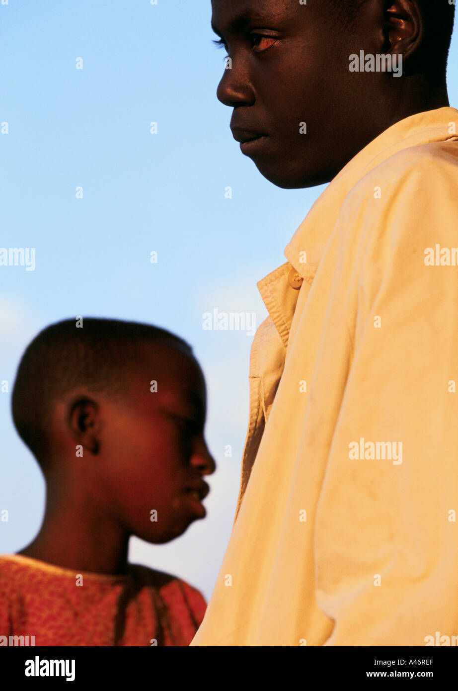 Brother and sister Alice and Pierre are orphans from the Gocide who live together in Ruyigi, Burundi Stock Photo