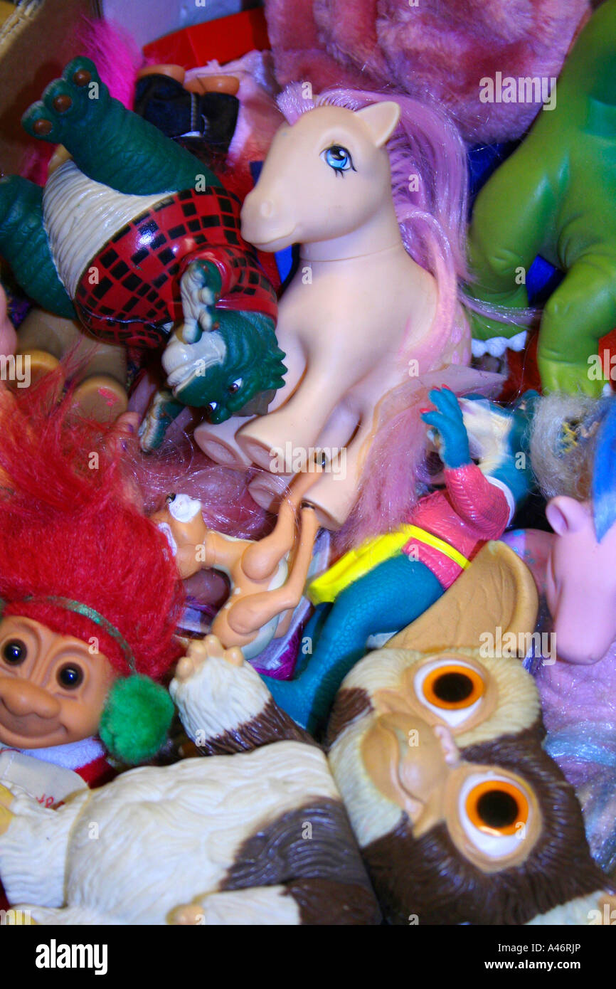 80's/90's childrens toys in a pile - Stock Image