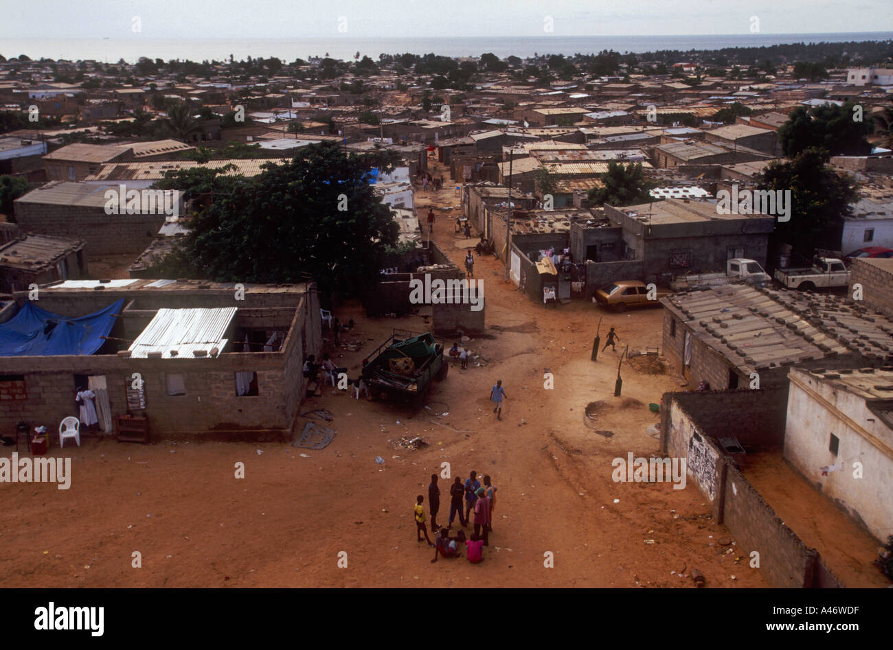 The view over a shanty town in Luanda the capital of Angola - Stock Image