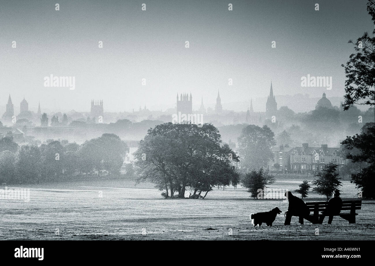 South Park, Oxford, with dreaming spire skyline - Stock Image