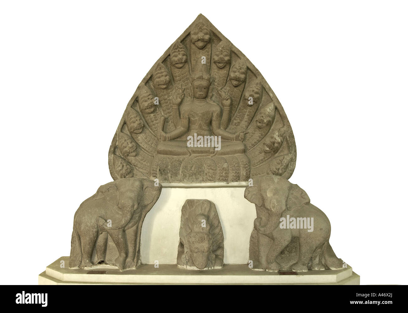 Vishnu sitting on snake Ananta, 10th century, Cham Sculpture Museum, Danang, Vietnam - Stock Image
