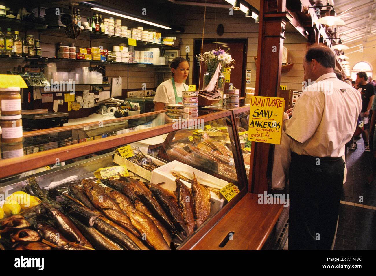 finland helsinki old market hall smoked fish seller stock photo 291900 alamy. Black Bedroom Furniture Sets. Home Design Ideas
