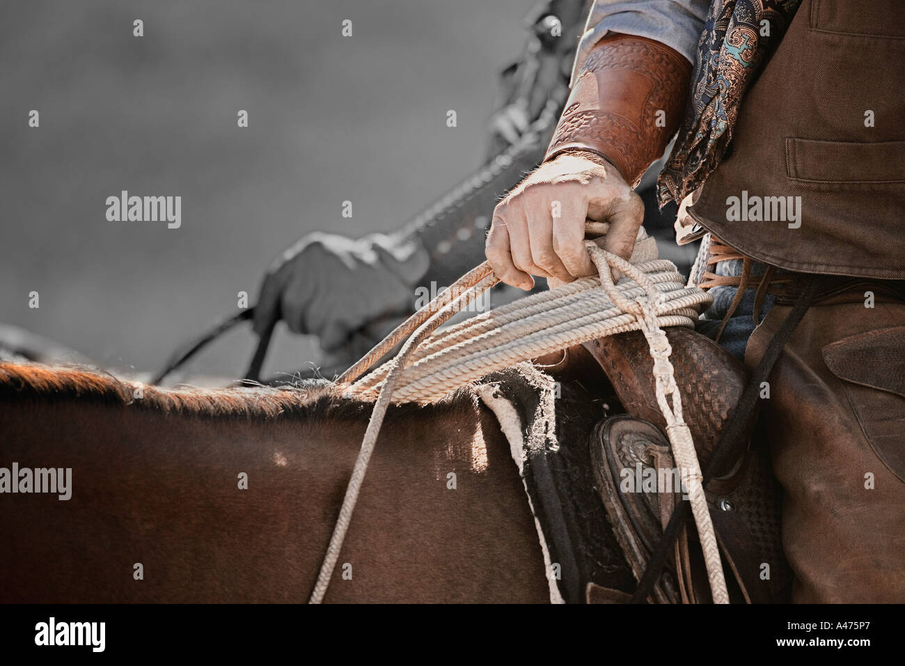 A Cowboy with lasso - Stock Image