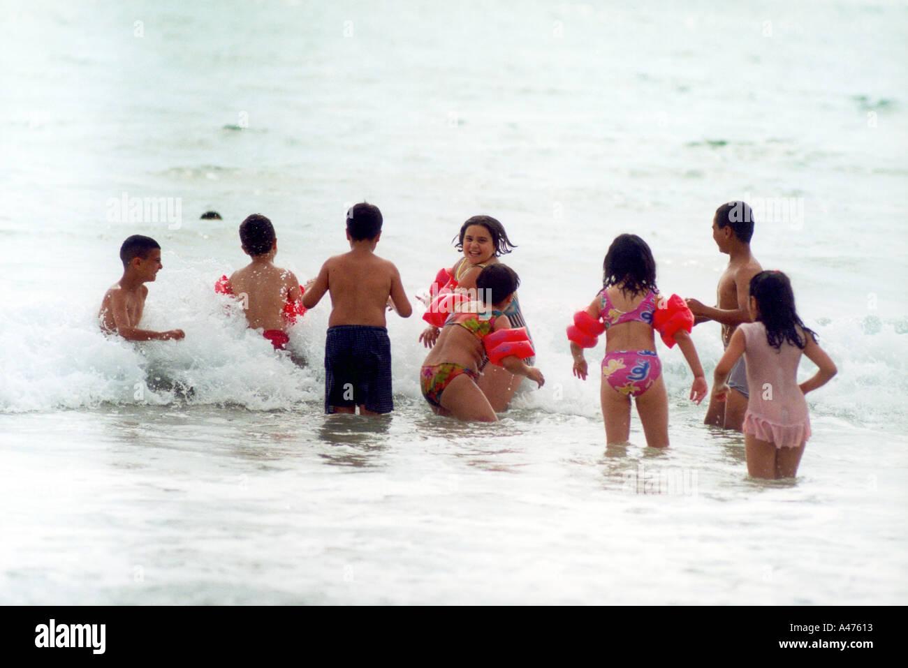 summer time enjoying water in mediterraneen sea lebanon - Stock Image
