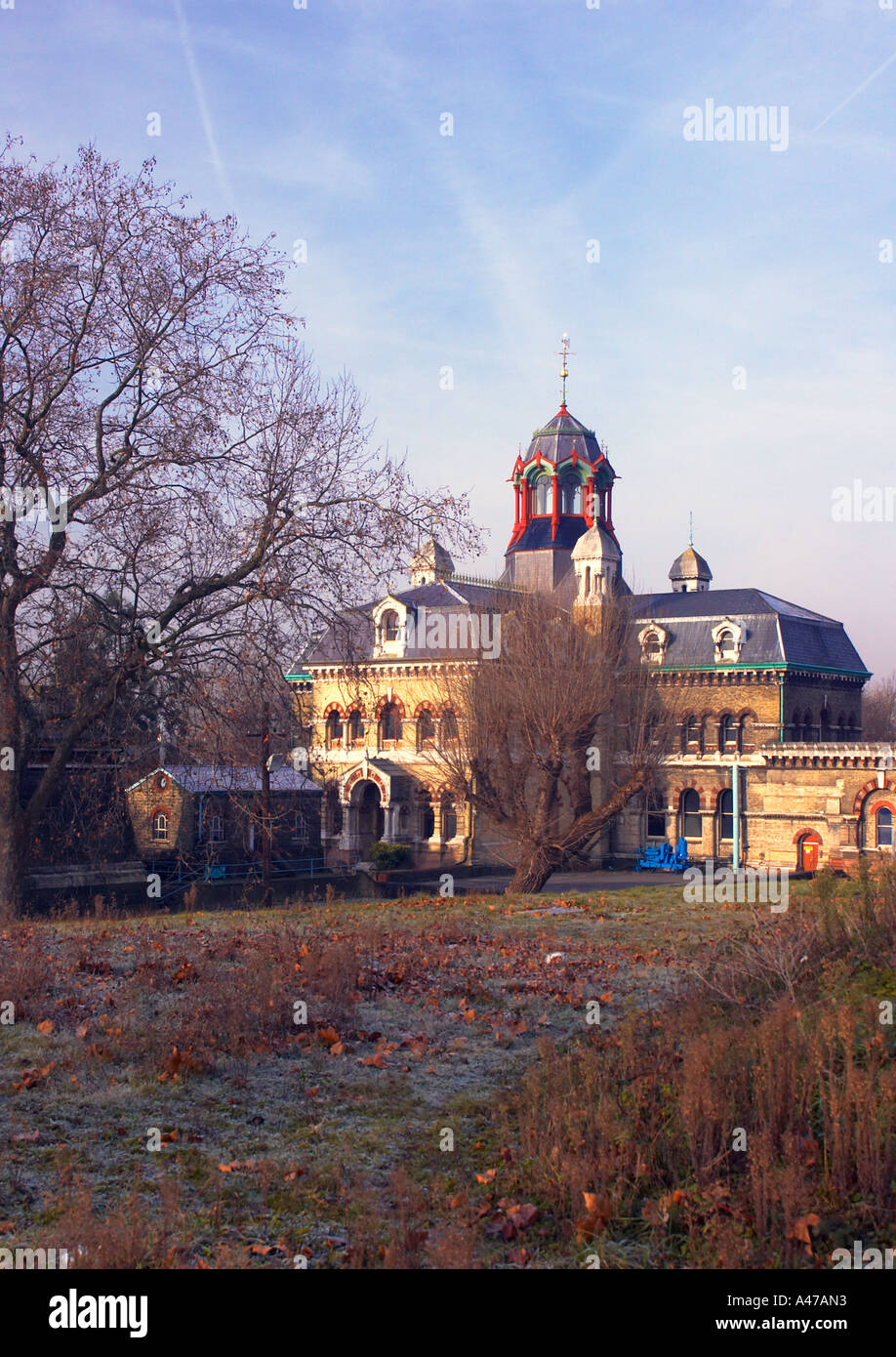 The disused Victorian Abbey Mills Sewage Pumping Station in Stratford in winter - Stock Image