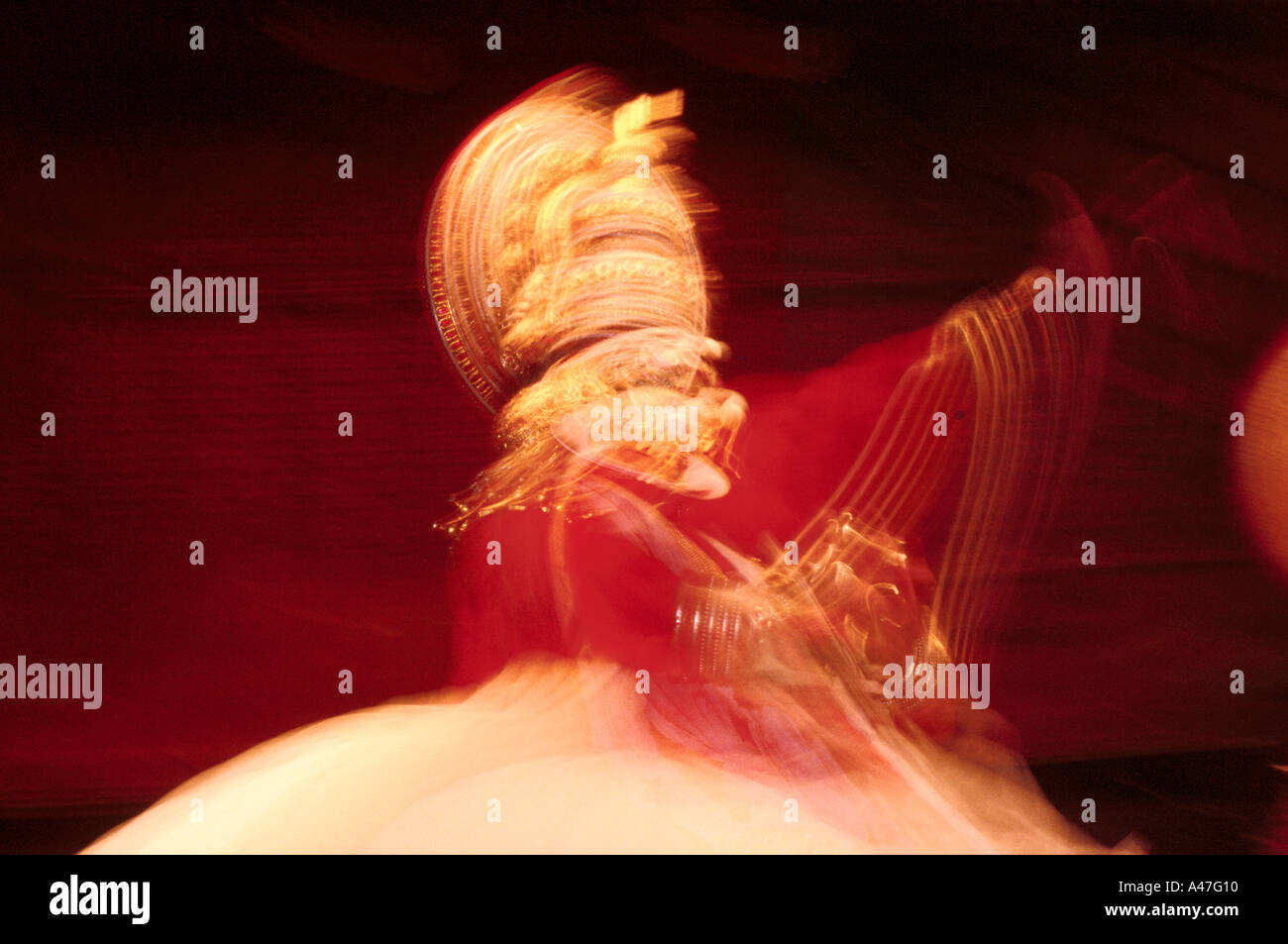 A Kathakali performer in a performance of the Mahabharata at the Kerala Kalamandalam, state academy for Kathakali, - Stock Image