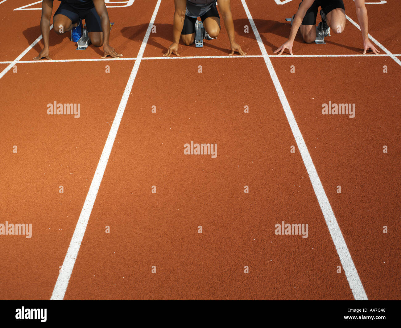 Male runners at starting line - Stock Image