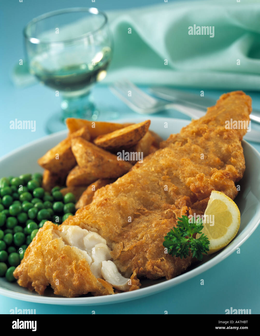 Fish and chips editorial food - Stock Image