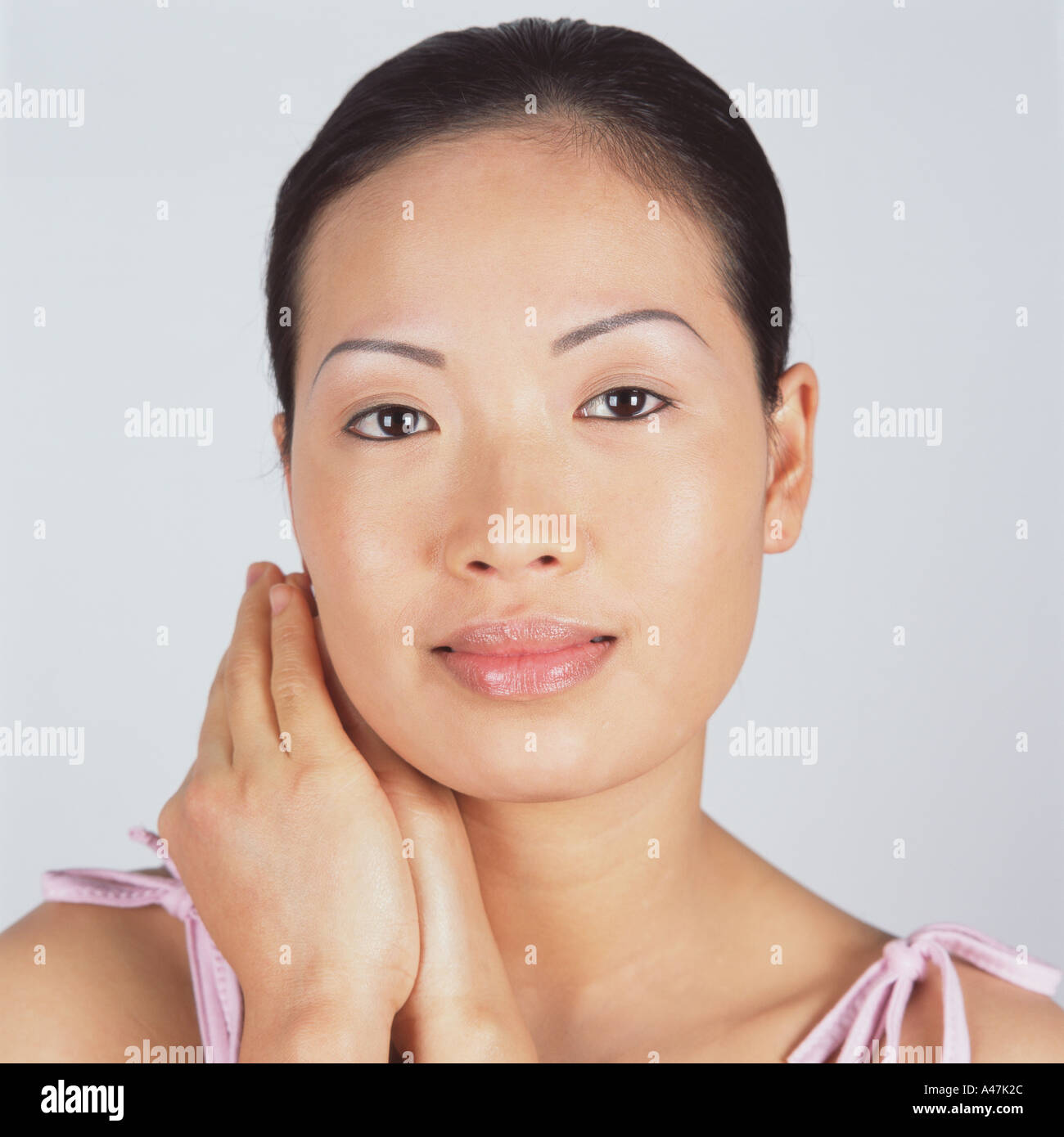 Portrait of a beautiful asian woman - Stock Image