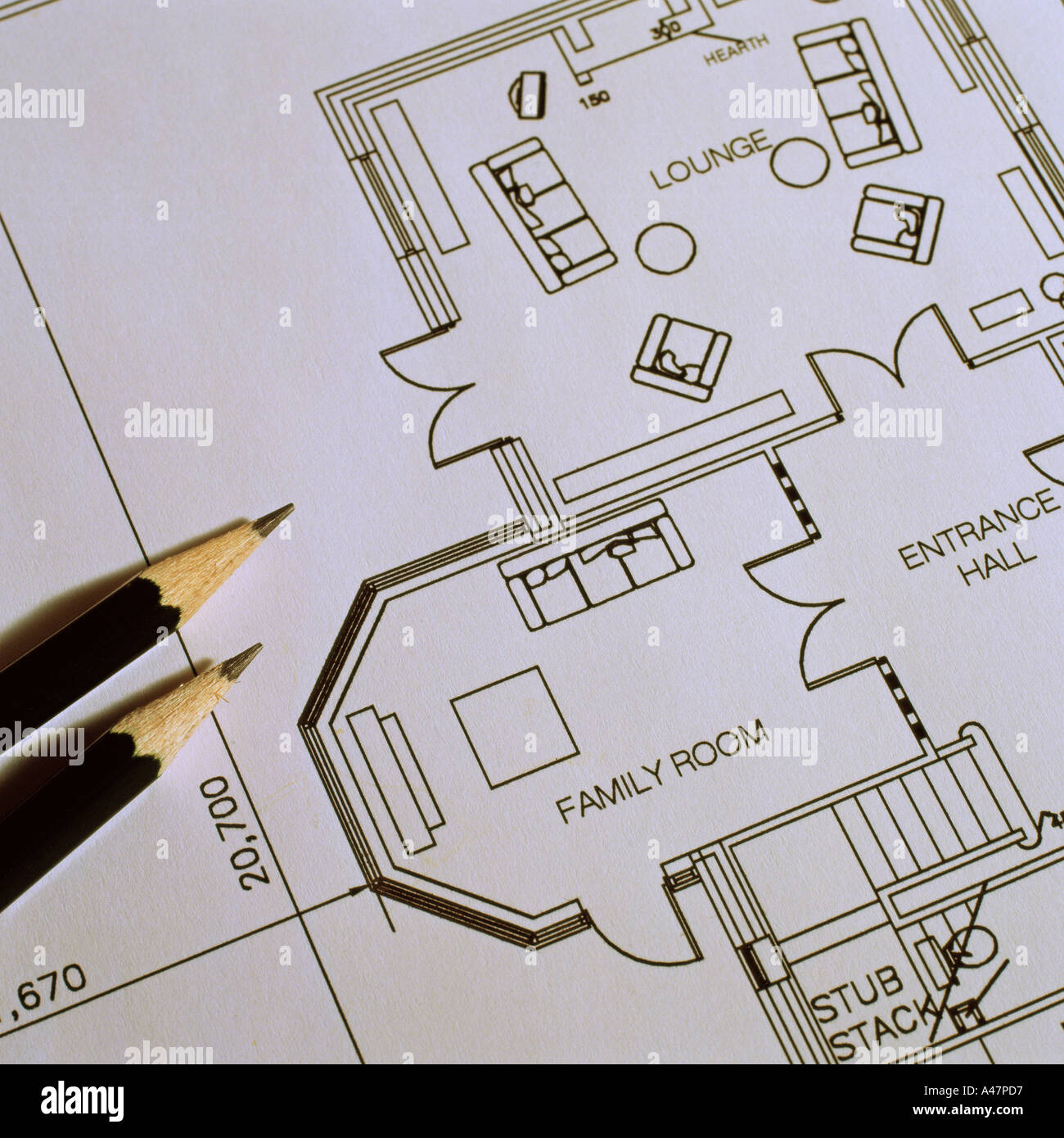 Pencils and architectural blueprints - Stock Image