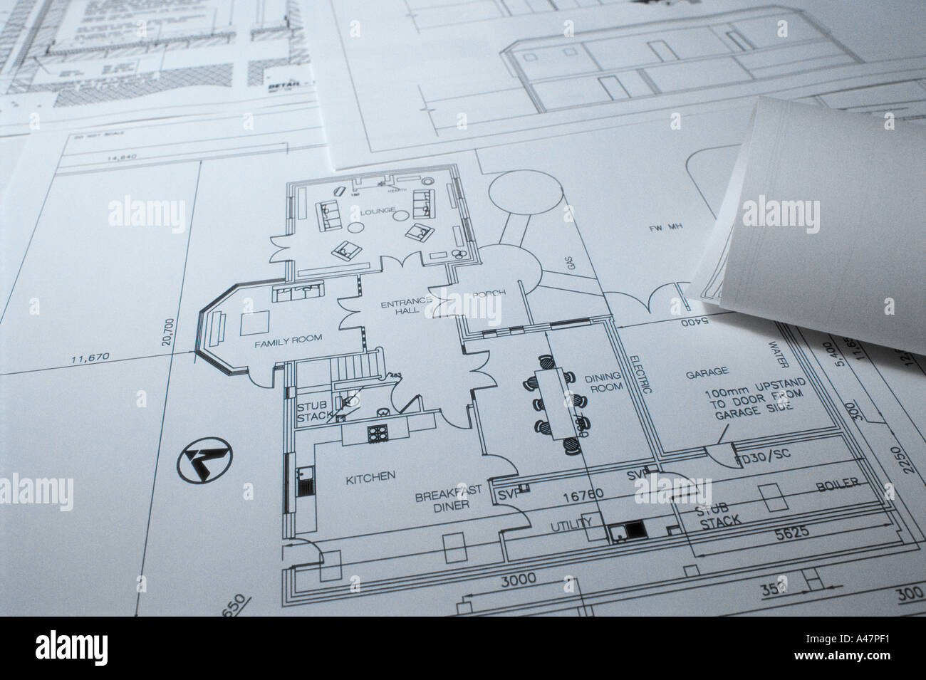 Architectural blueprints - Stock Image