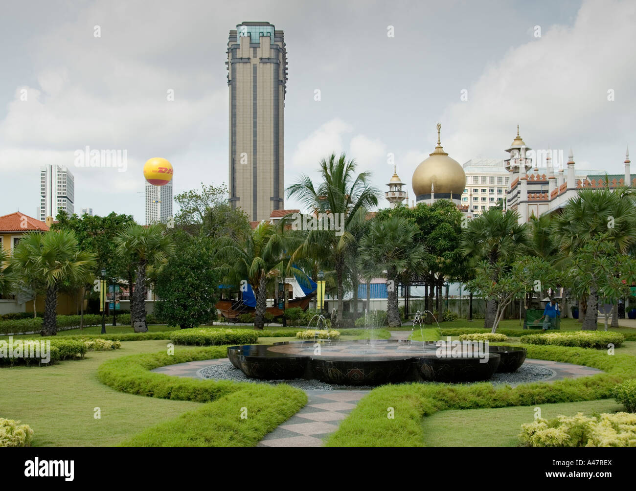 View south from the grounds of Istana Kampong Glam, Singapore - Stock Image