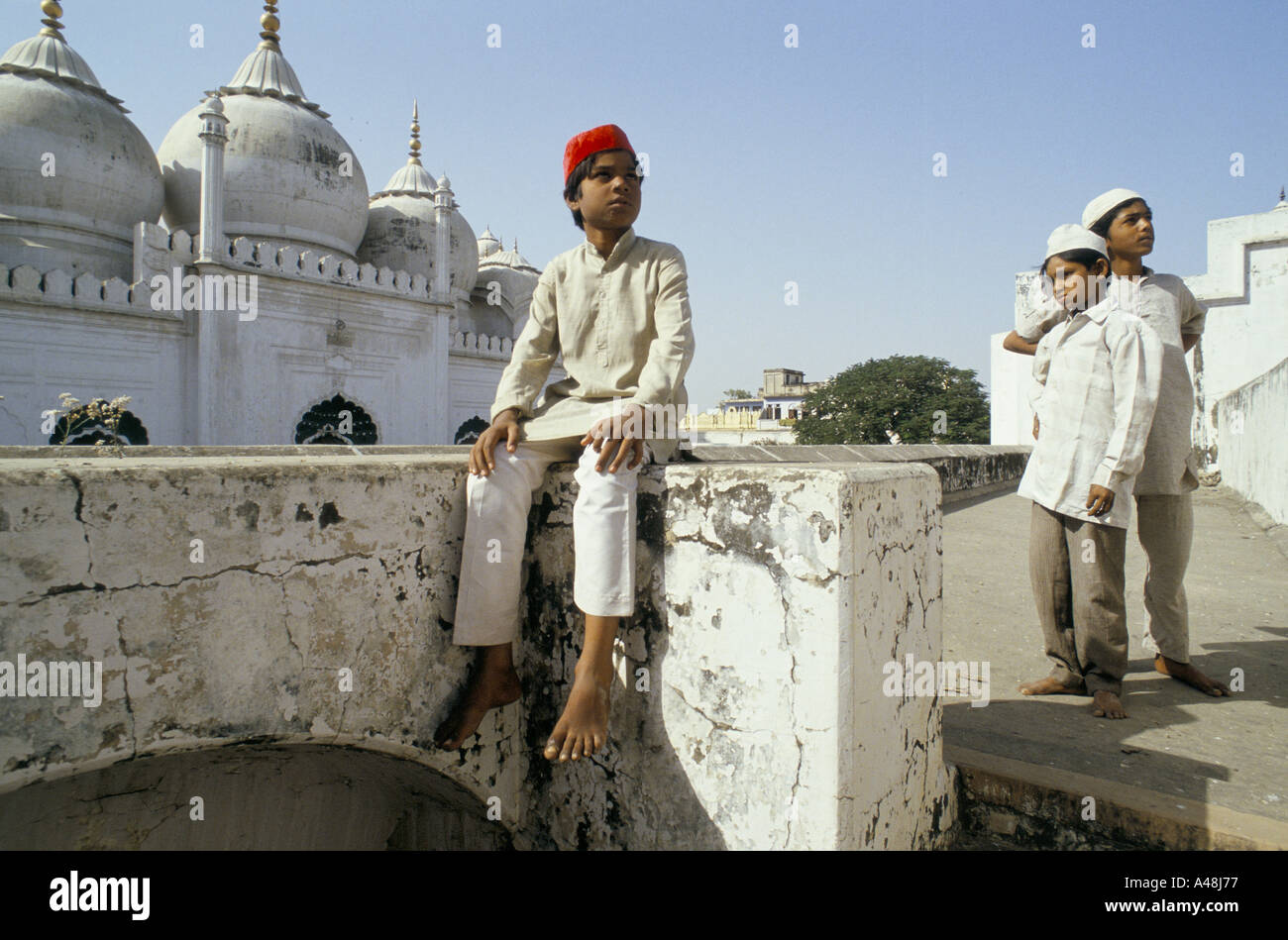 moslem boys at friday prayers in alligarh s main mosque alligarh north india 1990 - Stock Image