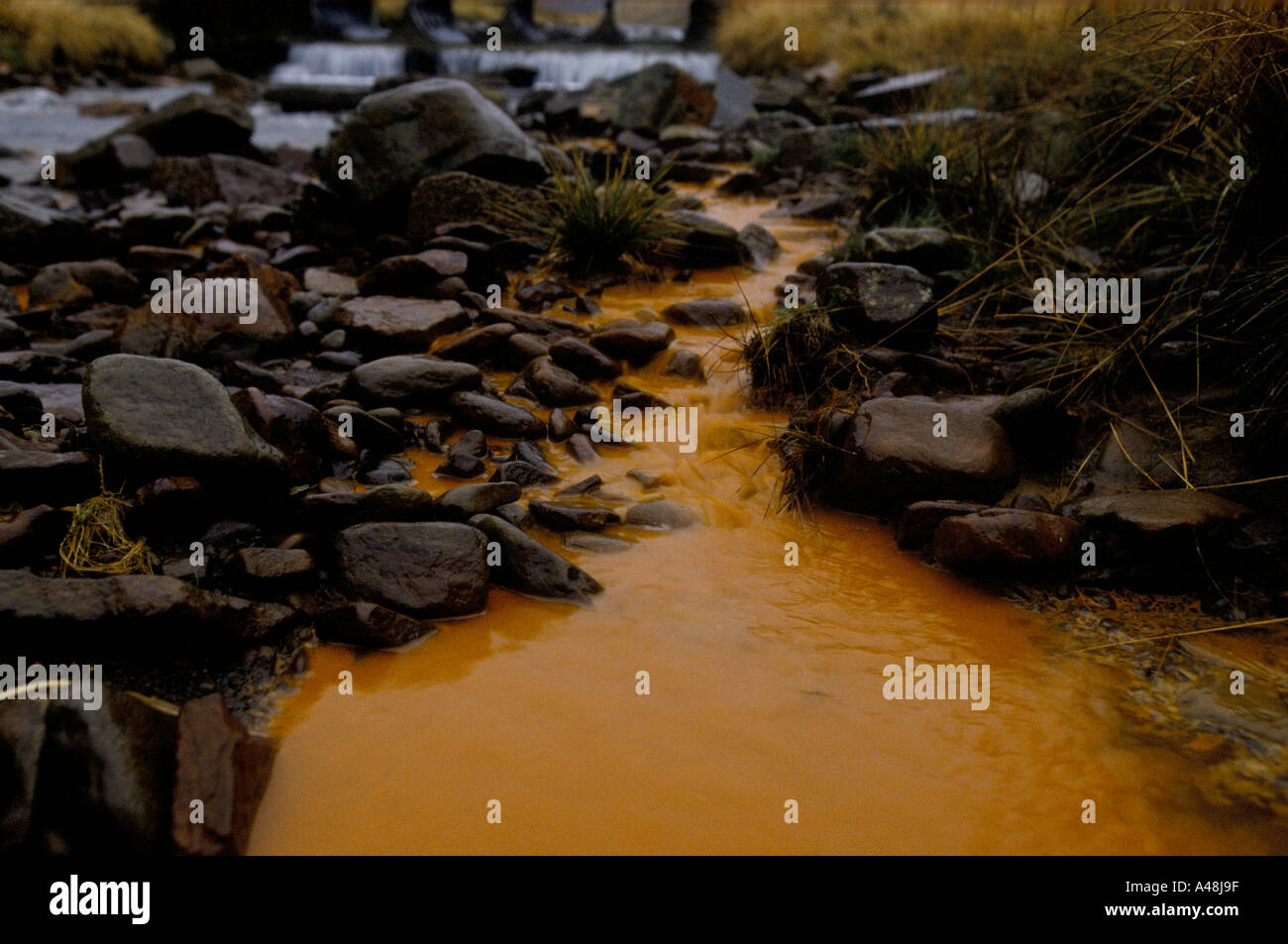 iron seepage from disused coal mine in Palena valley south wales - Stock Image