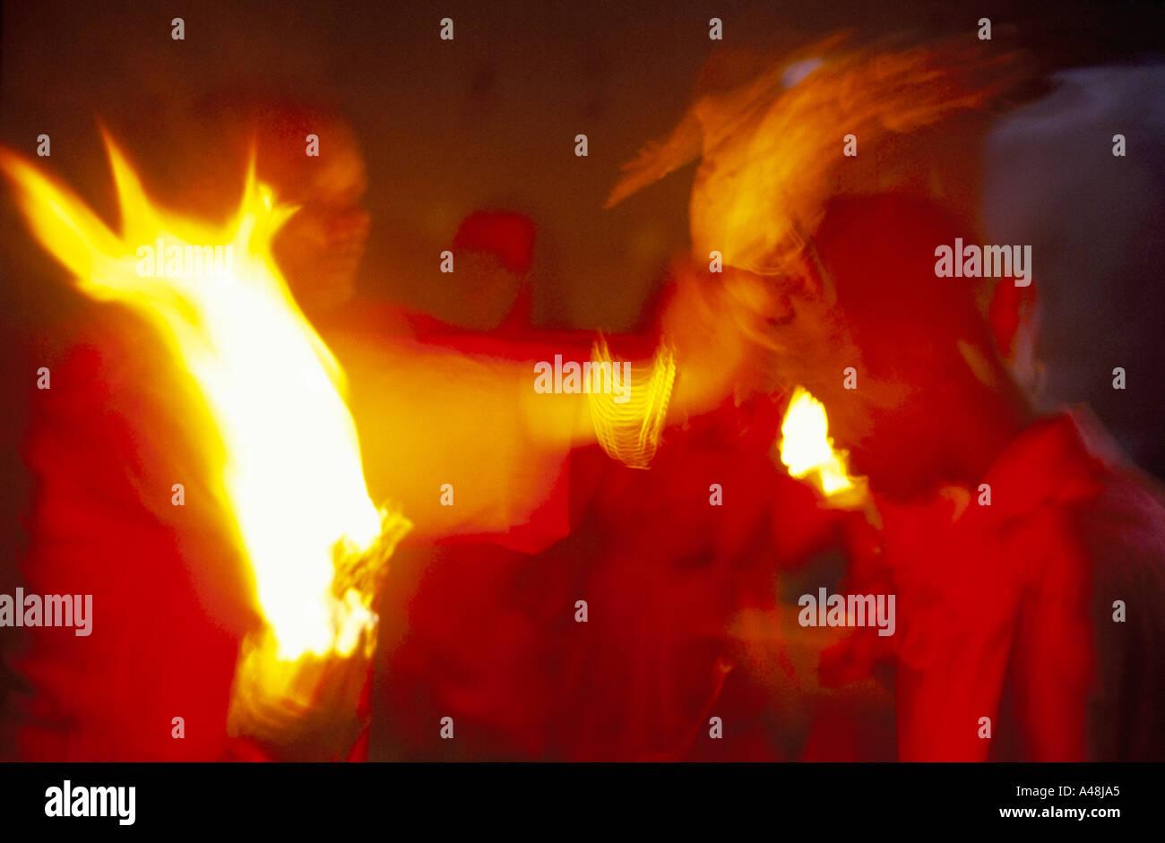 voodoo ceremony and trance voodoo drumming haiti - Stock Image