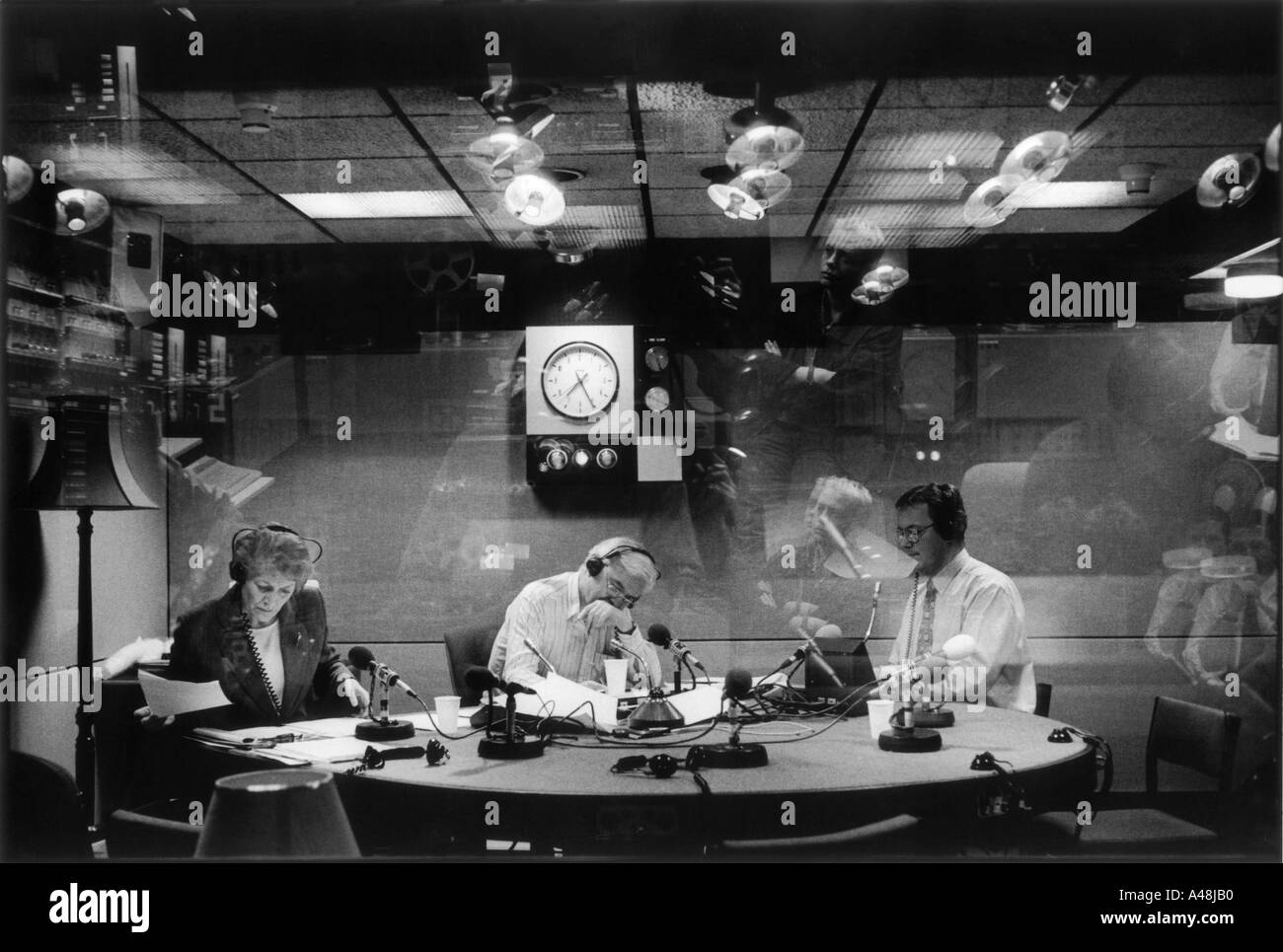 John humphries sue macgregor and sports reporter nick mullin in the bbc radio 4 today programme studio - Stock Image