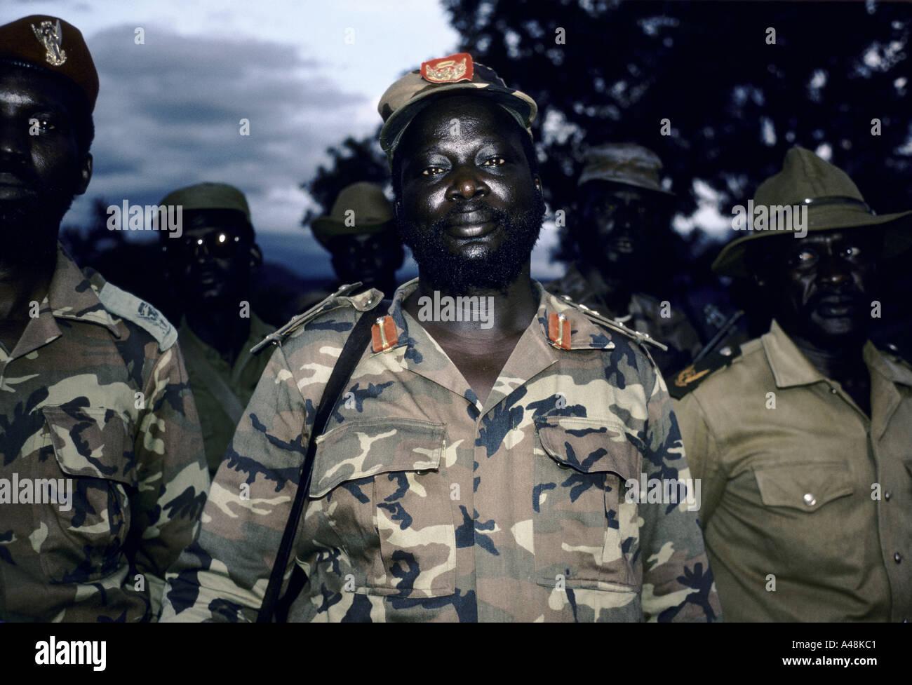 Dr John Garang Leader(deceased) Sudan Peoples Liberation Army. Booma Plateau Sudan 1986 - Stock Image