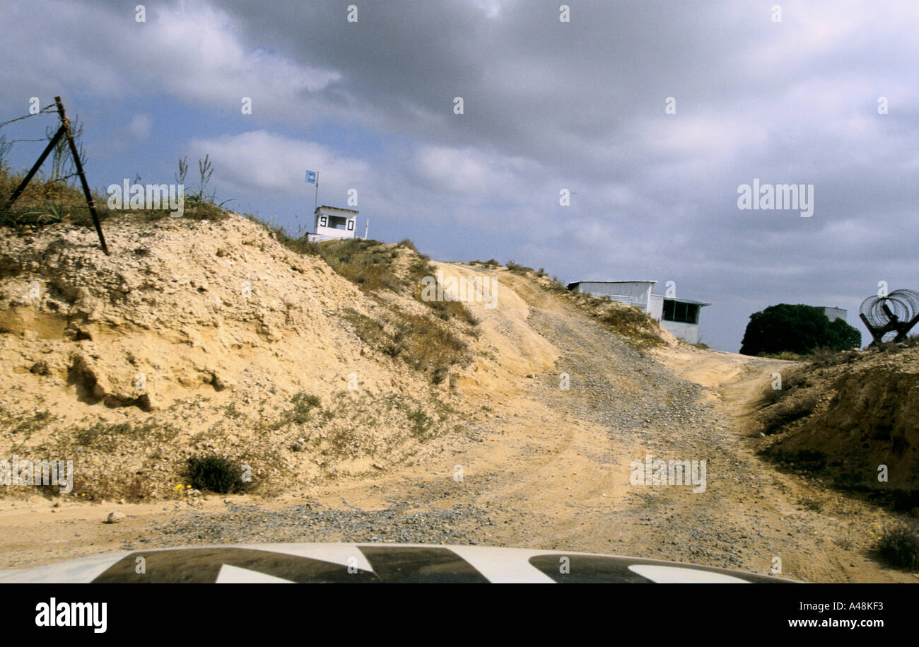 un observation post in the buffer zone between north and south cyprus Stock Photo