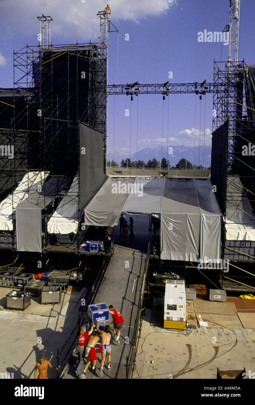 Roadies or technicians building the stage set for a concert by Irish rock band U2  in Geneva Switzerland - Stock Image
