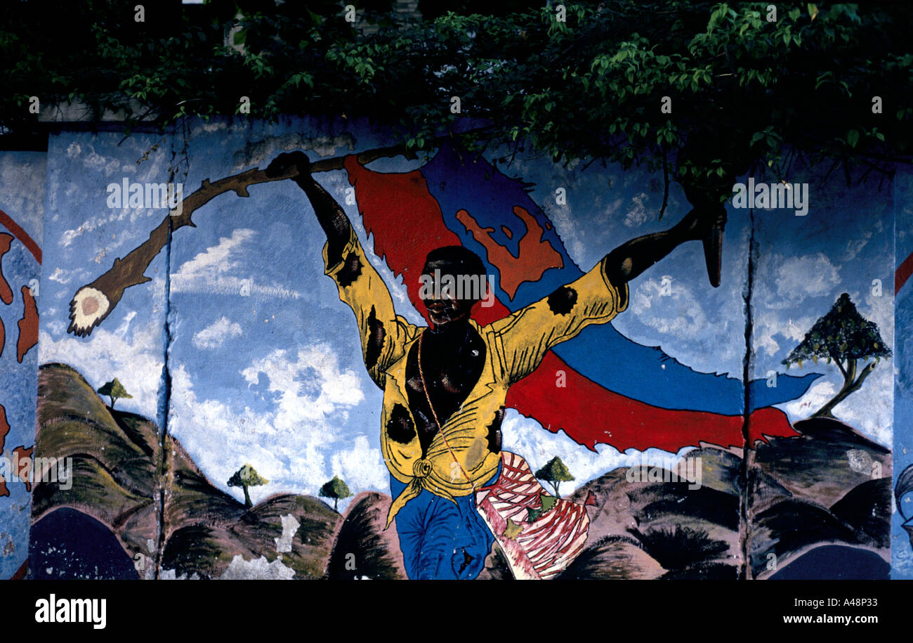 a mural depicting dechouka (the uprising of the people)that led to the overthrowing of baby doc duvalier in 1986 - Stock Image
