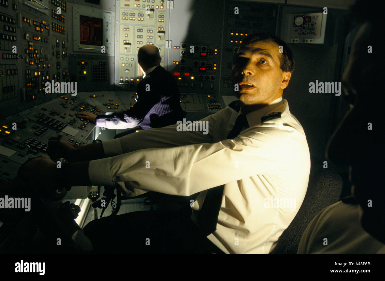 naval officers at the controls of the trident nuclear  submarine .Faslane naval base scotland - Stock Image