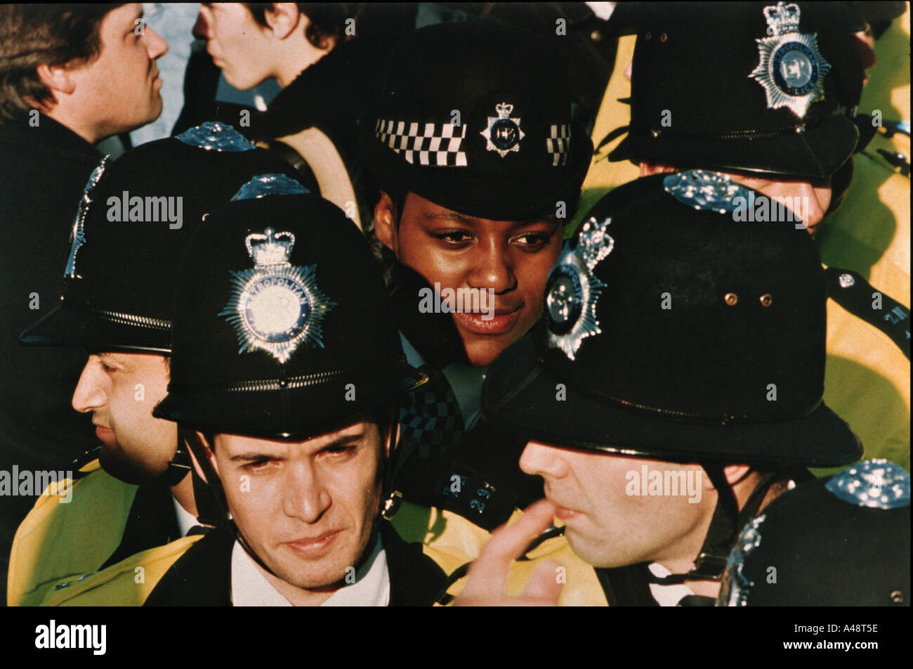 police officers at anti racist march south london 16 10 93 - Stock Image
