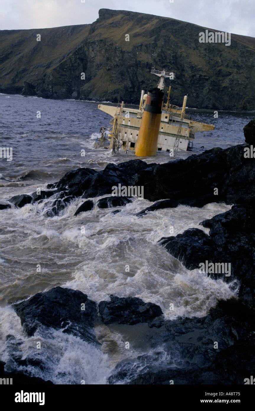 braer oil tanker disaster shetland january 1993 - Stock Image
